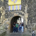 Young people user-testing the Siege! heritage app at Carrickfergus Castle