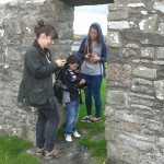 Young people user-testing heritage apps at Nendrum Monastery