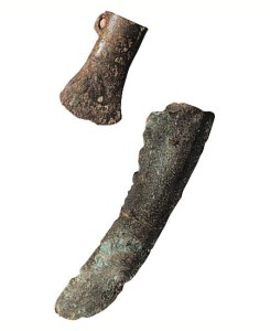 Navan Fort in the Iron Age - Site B - Late Bronze Age socketed axehead and sickle blade