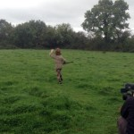 Filming Setanta's Challenge on location: Cú Chulainn runs to catch his sliotar