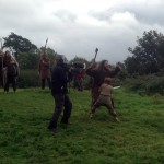 Filming Setanta's Challenge on location : Antaine films a close-up of Cú Chulainn fighting