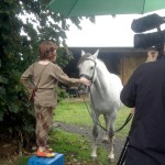Filming Setanta's Challenge on location : Cú Chulainn pets the Grey of Macha