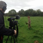 Filming Setanta's Challenge on location : Cú Chulainn with his hurling stick