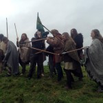 Filming Setanta's Challenge on location : warriors reenact battle scene